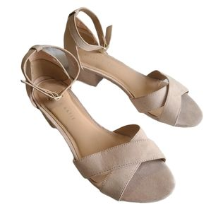 Kelly &Katie-Suede open toe heel with ankle strap